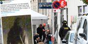 Bild på den man som polisen nu efterlyser/polisens tekniker på plats efter explosionen. Polisen i Köpenhamn/TT