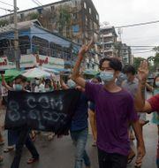 Demonstranter i Rangoon, Myanmar/Arkivbild TT NYHETSBYRÅN