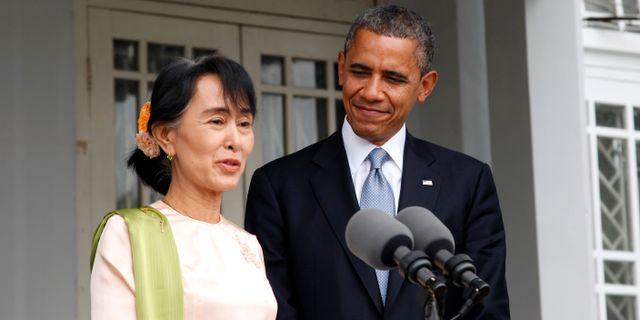 Aung San Suu Kyi och Barack Obama.  Khin Maung Win / TT NYHETSBYRÅN