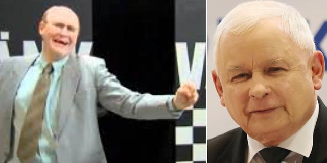"""Skärmdump från Youtubeklippet """"Grotesco – Det är bögarnas fel"""" och den polske ledaren Jaroslaw Kaczynski. Youtube/TT"""