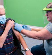En man i Danmark vaccineras. Claus Fisker / TT NYHETSBYRÅN
