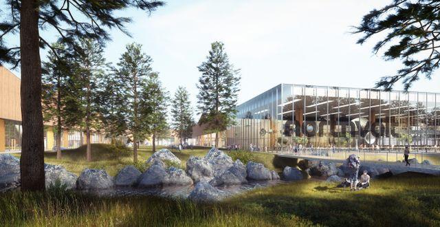 SKELLEFTEÅ 2017-10-26 Skellefteå tog storvinst i batterikampen. Illustration över hur Northvolts batterifabrik ska se ut. Northvolt / Northvolt.