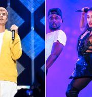 Arkivbilder: Justin Bieber och Ariana Grande. TT