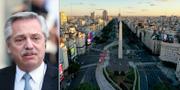 Alberto Fernández / Buenos Aires paradgata 9 juli-avenyn med den kända obelisken i mitten TT