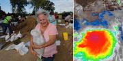 Människor i Baton Rouge fyller sandsäckar som ska skydda mot översvämningar. TT/Accuweather