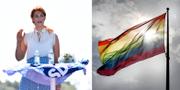 Louise Erixon (SD) och en hissad Prideflagga. TT