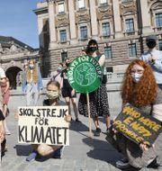 Klimatstrejk utanför riksdagen. Christine Olsson / TT NYHETSBYRÅN
