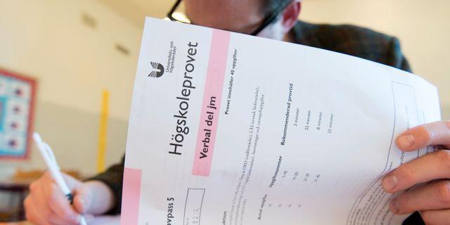 Högskoleprovet skrivs på Kungsholmens Gymnasium, april 2017. Henrik Montgomery/TT / TT NYHETSBYRÅN