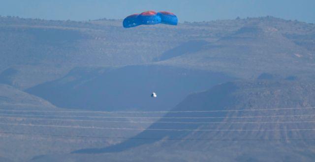 Blue Origins kapsel landar nära Van Horn, Texas. LM Otero / TT NYHETSBYRÅN
