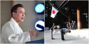Sydkoreas president Moon Jae-in. Japaner som ber vid kontroversiella templet Yasukuni shrine.  TT
