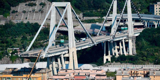 Den raserade bron i Genua.  Luca Zennaro / TT NYHETSBYRÅN