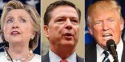 Hillary Clinton, James Comey och Donald Trump. TT