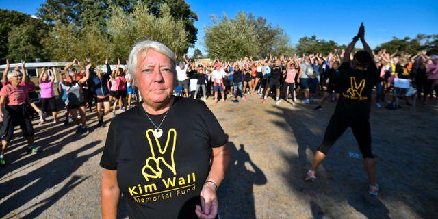 Kim Walls mamma Ingrid Wall vid minnesloppet. Johan Nilsson/TT / TT NYHETSBYRÅN