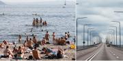 Arkivbilder på badstrand och Ölandsbron.  TT