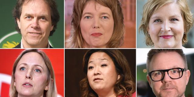 Pär Holmgren (MP), Malin Björk (V), Karin Karlsbro (L), Jytte Guteland (S), Jessica Polfjärd (M), Fredrick Federley (C).  TT