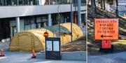 Stort tält utanför entrén till Nya Karolinska i Solna som är redo att ta emot patienter/skylt vid Karolinska i Huddinge. TT