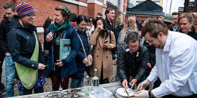 Museibesökare på Disgusting food museum i Malml serveras surströmming. Johan Nilsson/TT / TT NYHETSBYRÅN
