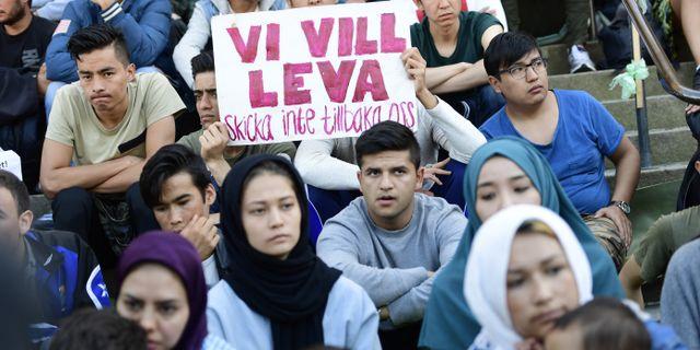 Afghanska ungdomar demonsterar på Medborgarplatsen i Stockholm. Maja Suslin/TT / TT NYHETSBYRÅN