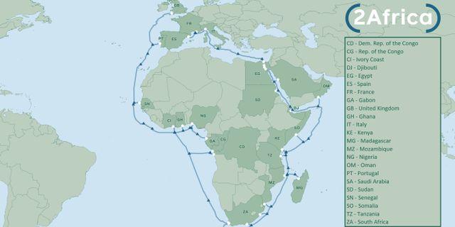 Bilden beskriver hur kabeln ska gå.  Pressbild från 2Africa.