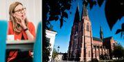 Swedbanks koncernchef Birgitte Bonnesen och domkyrkan i Uppsala.