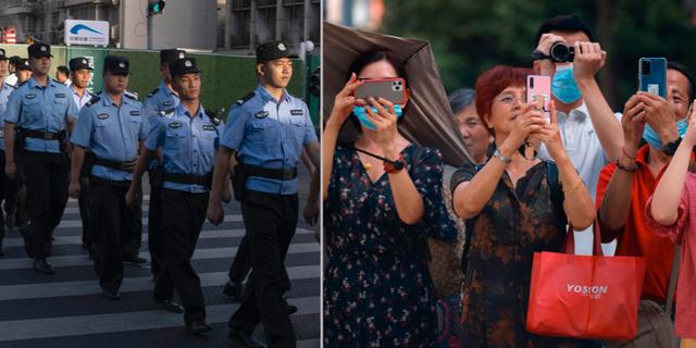 Polis utanför konsulatet/Förbipasserande tar bilder.  TT