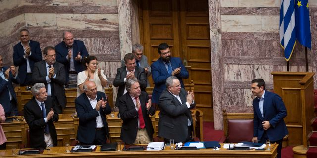 Aleis Tsipras efter omröstningen Petros Giannakouris / TT / NTB Scanpix