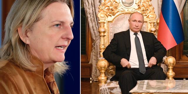 Karin Kneissl och Vladimir Putin. TT
