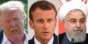 Donald Trump, Emmanuel Macron och Hassan Rouhani TT