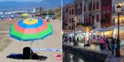 Arkivbilder. Turister i Spanien och Grekland. TT