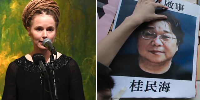 Kulturminister Amanda Lind (MP) och den fängslade förläggaren Gui Minhai.  TT