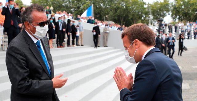 Tedros Adhanom och Emmanuel Macron. Arkivbild. Ludovic Marin / TT NYHETSBYRÅN