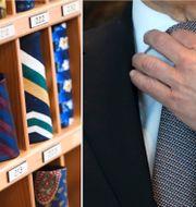Slipsar i butik i Enköping. Tysklands finansminister Olaf Scholz rättar till slipsen. Arkivbilder. Fredrik Sandberg/TT / TT NYHETSBYRÅN  /  Natacha Pisarenko / TT NYHETSBYRÅN/ NTB Scanpix