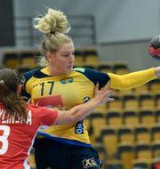 Nina Dano var en fyra svenska spelare som gjorde sina första landslagsmål.  Johan Nilsson/TT / TT NYHETSBYRÅN