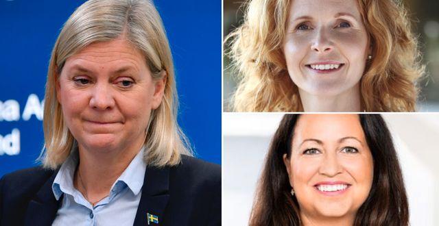 Kapp-Ahls vd Elisabeth Peregi och Lindex försäljningschef Caroline Öhgren är två av dem som undertecknat brevet till finansminister Magdalena Andersson.  TT/Kapp-Ahl/Lindex