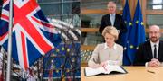 Ursula von der Leyen, Michel Barnier och Charles Michel. TT/Twitter