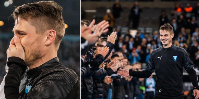 En känslosam Markus Rosenberg efter matchen. Bildbyrån