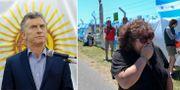 Mauricio Macri/anhöriga tlil besättningen. TT