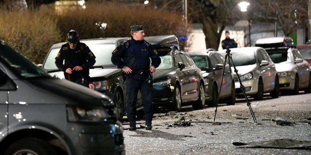 Polisen på plats efter sprängningen på Östermalm. Anders Wiklund/TT / TT NYHETSBYRÅN