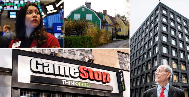 Illustrationsbilder. Börsmäklaren Ashley Lara, villor i södra Stockholm, riksbankschefen Stefan Ingves, Gamestop-butik på Manhattan i New York. TT