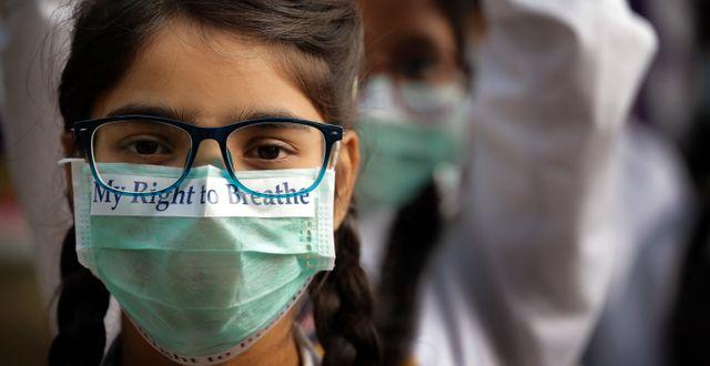 Skolbarn protester mot den dåliga luften i New Delhi i Indien. År 2017.  Manish Swarup / TT NYHETSBYRÅN/ NTB Scanpix