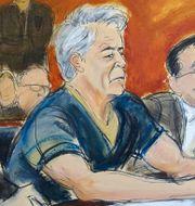 Avtecknad bild på Epstein i domstolen.  Elizabeth Williams / TT NYHETSBYRÅN
