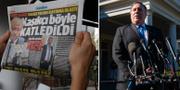 """Turkisk tidning med rubriken """"Så slaktades Khashoggi""""/Mike Pompeo i Washington DC. TT"""