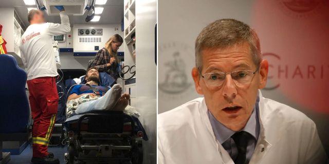 Pjotr Verzilov i ambulansen, läkaren Kai-Uwe Eckardt vid en pressträff. Handout / CINEMA FOR PEACE / AFP /TT