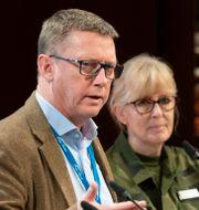 Säpo-chefen Klas Friberg och chefen för MUST, Lena Hallin under Folk och Försvars rikskonferens i Sälen. Henrik Montgomery/TT / TT NYHETSBYRÅN