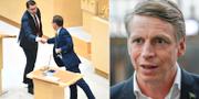 Jimmie Åkesson (SD) skakar hand med Ulf Kristersson (M)/Per Bolund (MP). TT