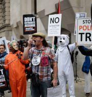 Demonstranter som stöttar Assange utanför domstolen i London.  Matt Dunham / TT NYHETSBYRÅN