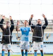 Malmöspelare firar efter segern mot Elfsborg. LUDVIG THUNMAN / BILDBYRÅN