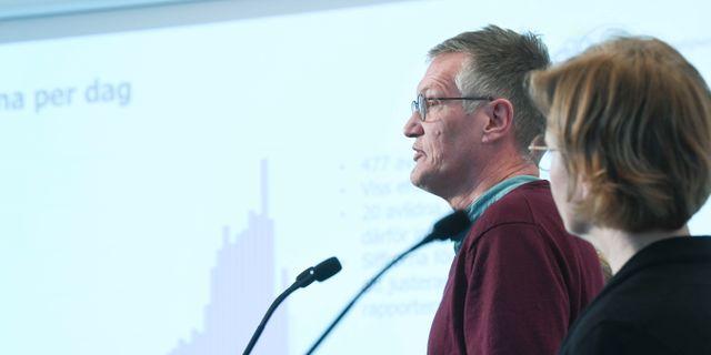 Anders Tegnell under presskonferensen.  Fredrik Sandberg/TT / TT NYHETSBYRÅN
