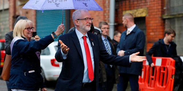 Corbyn på ett valmöte i Liverpool idag. PHIL NOBLE / TT NYHETSBYRÅN