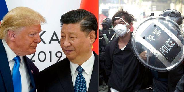 Till vänster: USA:s president Donald Trump och Kinas president Xi Jinping möts i Osaka. Till höger: Demonstranter i Hongkong. TT